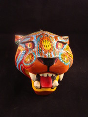 Colorful Painted Jaguar Mask from Oaxaca Mexico