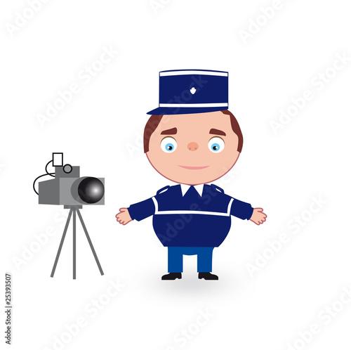 Gendarme en dessin avec radar photo libre de droits sur - Gendarme dessin ...