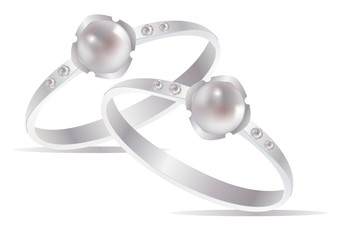 Two vector pearl rings