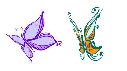 couple of butterfly. clipping path included.