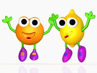 freuende Zitrone und Orange