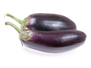 Two eggplant on a white background