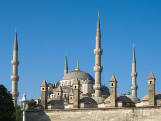 chimneys and minarets of blue mosque in Sultanhamet, Istanbul