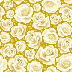 Vector white Rose seamless background