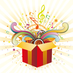 gift box and music
