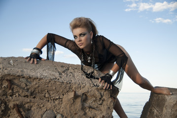 rock girl on a concrete slab