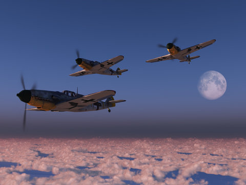High altitude WWII fighter planes.