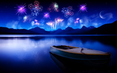 Colorful fireworks night