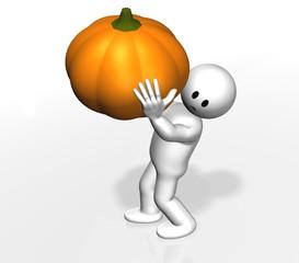 small man 3D with pumpkin