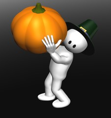 small man 3D with pumpkin