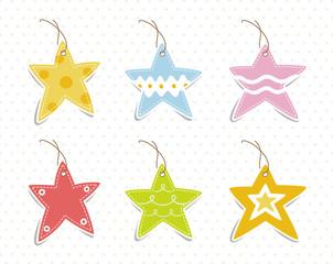Vector set of vintage cute frames in star shape