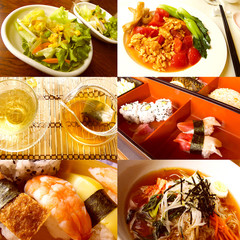 Gourmet food collage from a asian restaurant