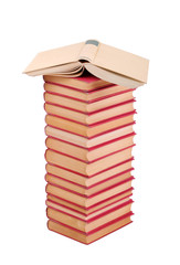 Pile of used books on a white background