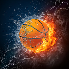 Canvas Prints Flame Basketball Ball