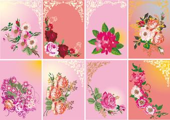 set of roses in frames