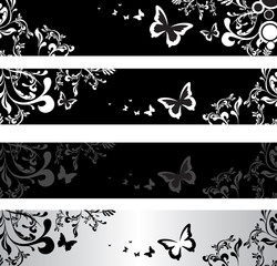 black floral banners