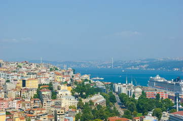 Istanbul city skape as it looks from galata tower