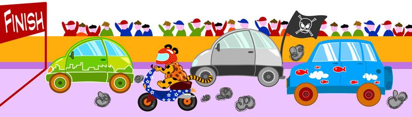 Canvas Prints Cars Pazza gara di veicoli divertenti