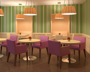 Modern colourful coffee house