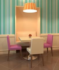 Modern cafe interior.