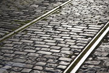 Tram Tracks on Cobbles