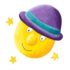 Moon wearing purple hat