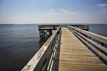 Empty Pier & Oil Boom