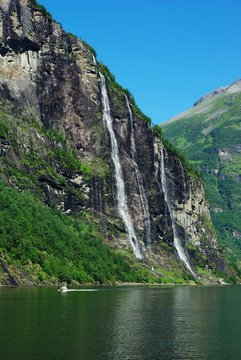 Mountain river with waterfall in Norway