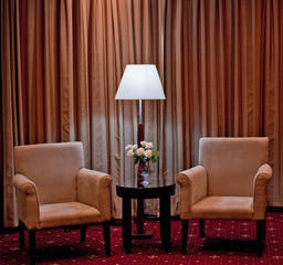 A modern chair and table setting