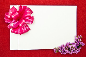 White paper blank with flowers