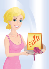 Woman and sale