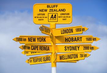Keuken foto achterwand Nieuw Zeeland Signpost at Bluff in New Zealand.
