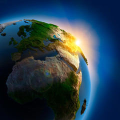 Sunrise over the Earth in outer space - fototapety na wymiar