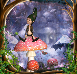 Printed kitchen splashbacks Fairies and elves kobold auf fliegenpilz