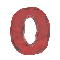 red glass alphabet letter O