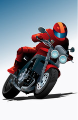 Poster Motorcycle Sport motorcycle vector with driver