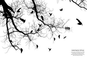Deurstickers Vogels op boom tree and bird