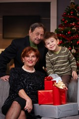 Portrait of grandparents and grandson at christmas