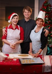 Family portrait at christmas baking