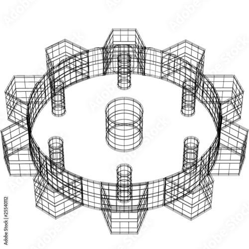 Zahnrad 3D Drahtmodell\