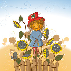 Scarecrow's girlfriend with sunflowers