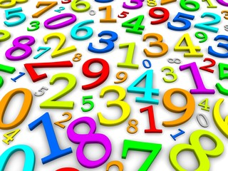 Colorful numbers background. 3d rendered illustration