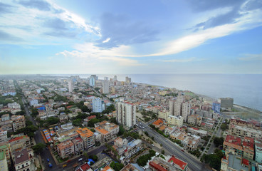 Cityscape of Havana. skyline of Vedado buildings