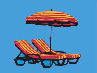 Chaises longues et parasol