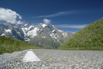 Road, journey in the French Alps.