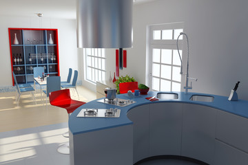 3d render modern kitchen and dining room