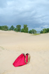 Red bag on a sand.