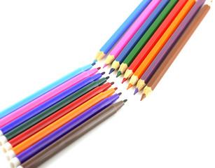 Color pencils and felt-tip pen