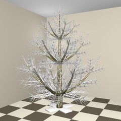 The silvery New Year Christmas fur-tree in an apartment interior