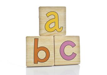 wooden tiles - spelling A B C